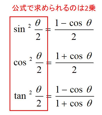 半角の公式を使う時の注意点